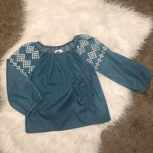Old Navy | Denim & Embroidered Top Size XS 5